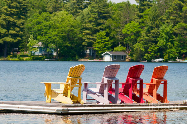 Photograph - Colorful Chairs by Les Palenik