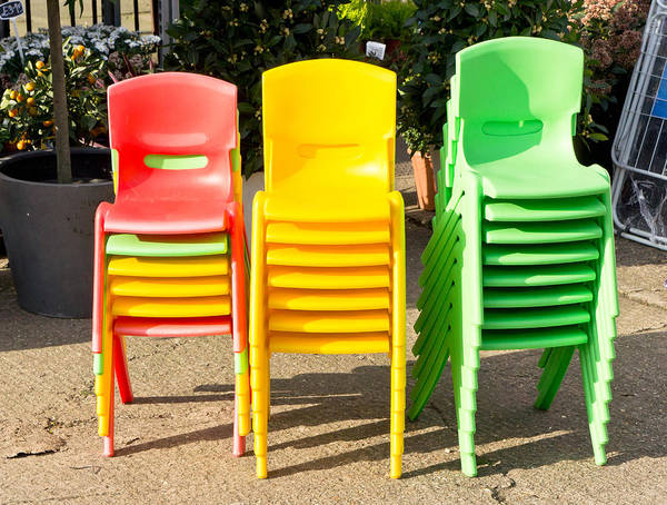Kindergarten Photograph - Colorful Chairs by Tom Gowanlock