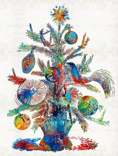 Red Ball Painting - Colorful Christmas Tree Art By Sharon Cummings by Sharon Cummings