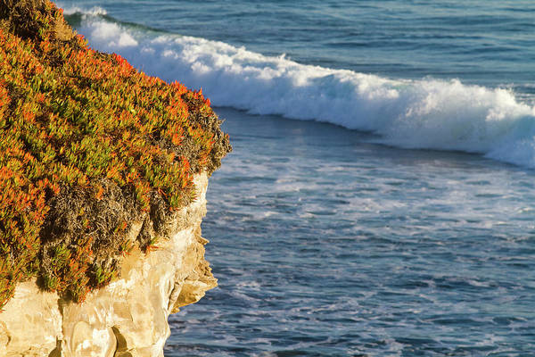 Monterey Bay Photograph - Colorful Cliffs And Wave Of Monterey Bay by Mark Miller Photos