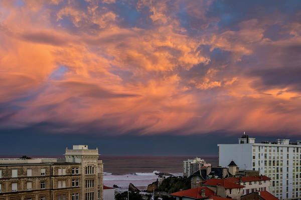 Pyrenees Photograph - Colorful Clouds After Sunset In Biarritz by Izzet Keribar