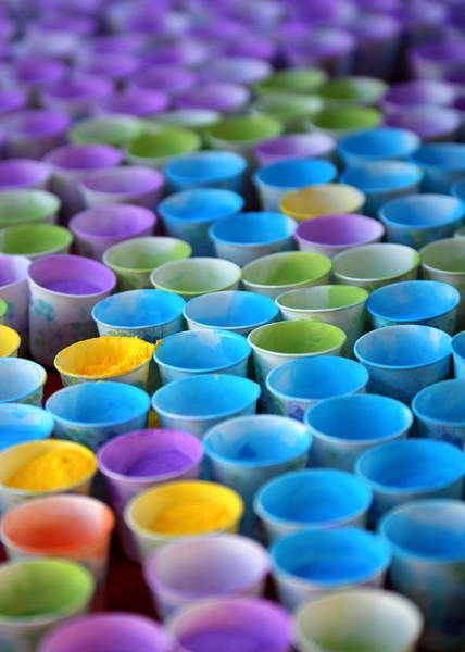 Photograph - Colorful Cups.  Indian Celebration Of Holi by John King