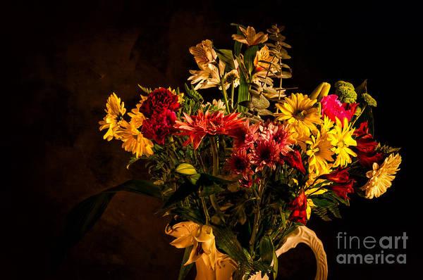 Photograph - Colorful Cut Flowers In A Vase by Les Palenik
