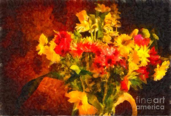 Photograph - Colorful Cut Flowers - V2 by Les Palenik