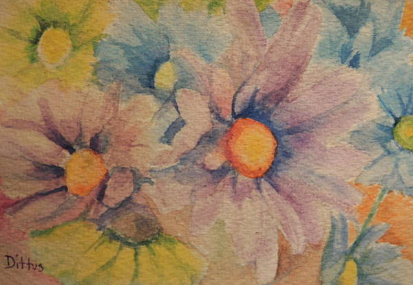 Wall Art - Painting - Colorful Daisies by Chrissey Dittus