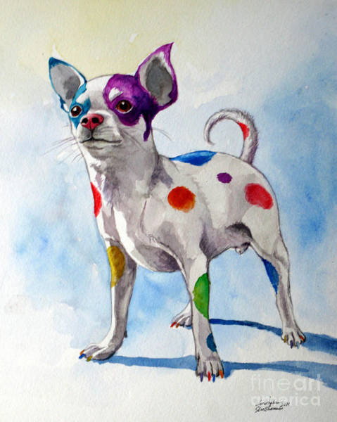 Painting - Colorful Dalmatian Chihuahua by Christopher Shellhammer