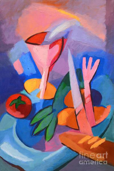 Dinner Painting - Colorful Dinner by Lutz Baar