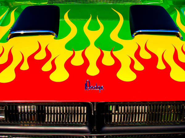 Photograph - Colorful Dodge Hood by Gary De Capua