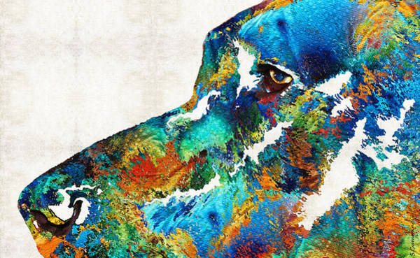 German Pointer Painting - Colorful Dog Art - Loving Eyes - By Sharon Cummings  by Sharon Cummings