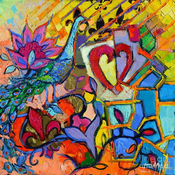Heart Gold Painting - Colorful Dream by Mona Edulesco
