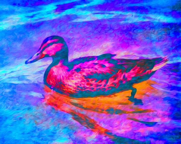 Art Print featuring the digital art Colorful Duck Art By Priya Ghose by Priya Ghose