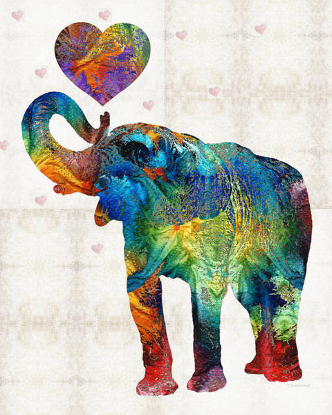 Wall Art - Painting - Colorful Elephant Art - Elovephant - By Sharon Cummings by Sharon Cummings