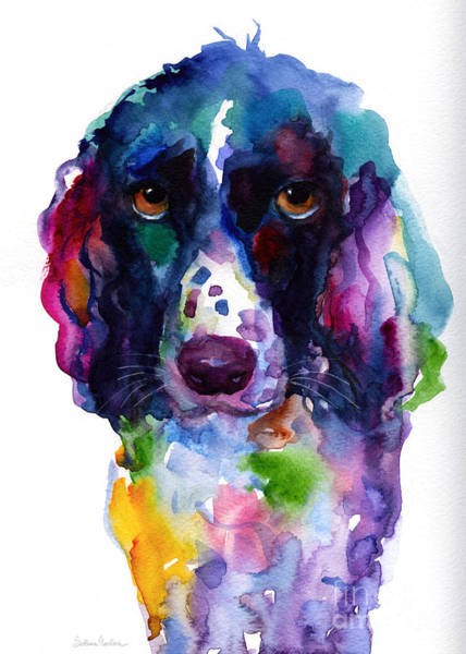 Commission Wall Art - Painting - Colorful English Springer Setter Spaniel Dog Portrait Art by Svetlana Novikova
