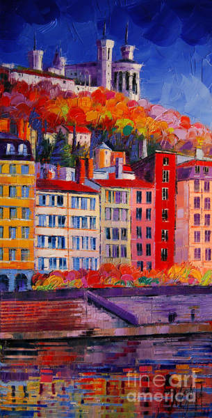 Facade Painting - Colorful Facades On The Banks Of Saone - Lyon France by Mona Edulesco