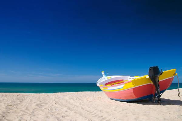 Motor Boat Photograph - Colorful Fishing Boat Algarve Portugal by Amanda Elwell