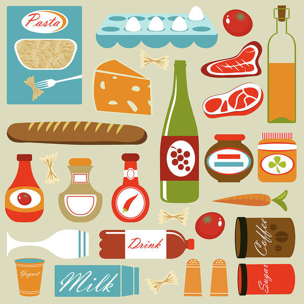 Egg Digital Art - Colorful Food Icons Composition by Olillia