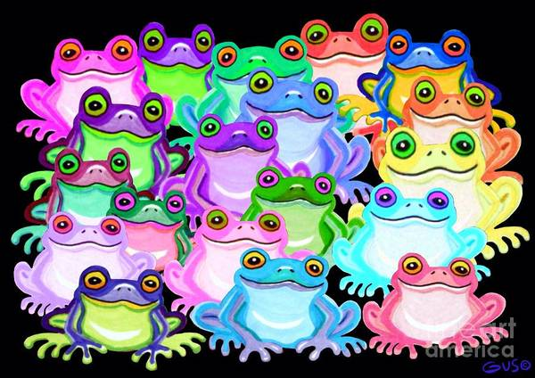 Wall Art - Painting - Colorful Frogs by Nick Gustafson