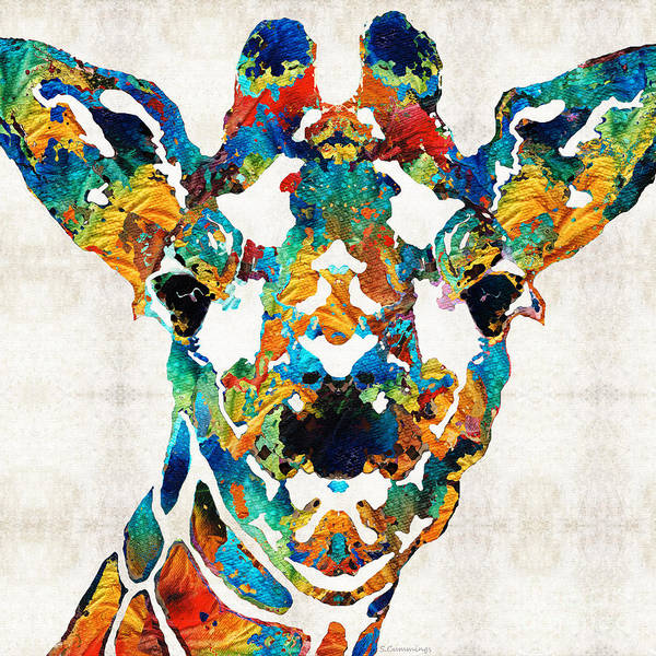 Wall Art - Painting - Colorful Giraffe Art - Curious - By Sharon Cummings by Sharon Cummings