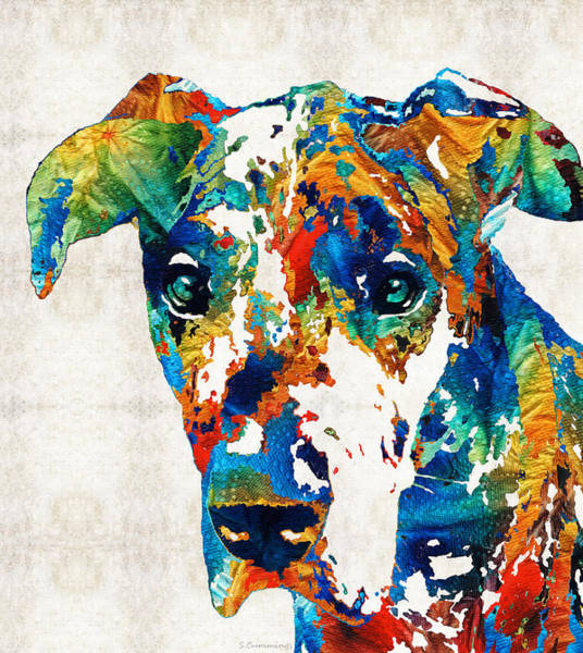 Wall Art - Painting - Colorful Great Dane Art Dog By Sharon Cummings by Sharon Cummings
