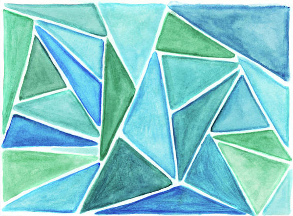 Art And Craft Photograph - Colorful Green And Blue Triangular by Andipantz