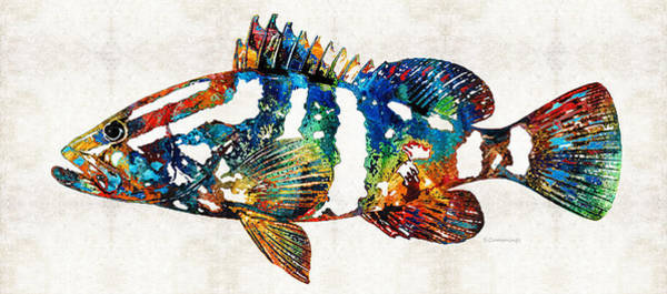 Florida Beach Painting - Colorful Grouper 2 Art Fish By Sharon Cummings by Sharon Cummings