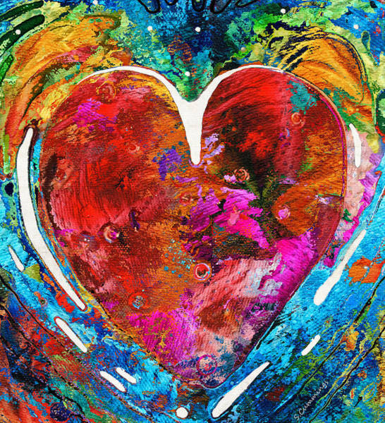 Girlfriend Painting - Colorful Heart Art - Everlasting - By Sharon Cummings by Sharon Cummings