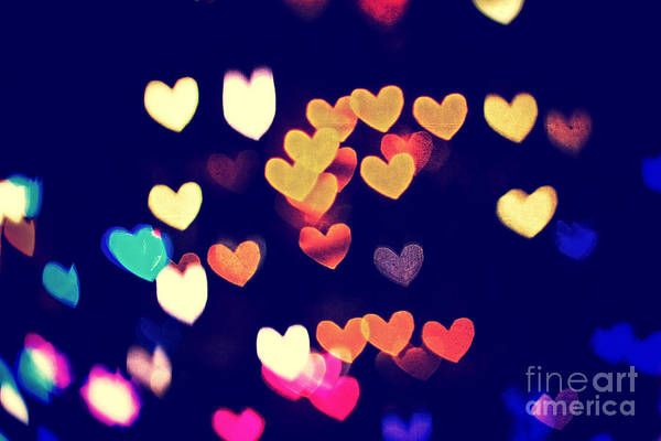 Photograph - Colorful Heart Bokeh With Vintage Atmosphere I by Beverly Claire Kaiya