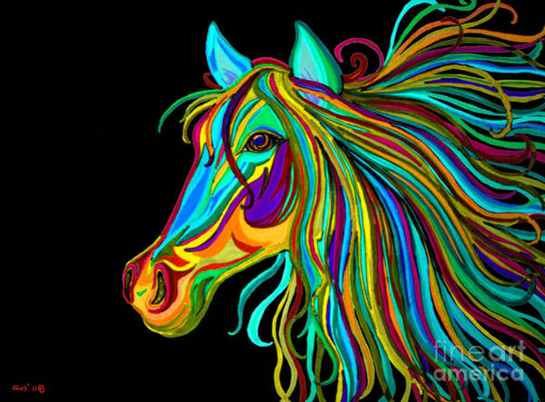 Equestrian Drawing - Colorful Horse Head 2 by Nick Gustafson