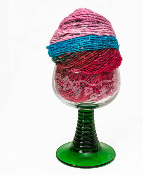 Photograph - Colorful Knitting Yarn In A Wine Glass by Les Palenik