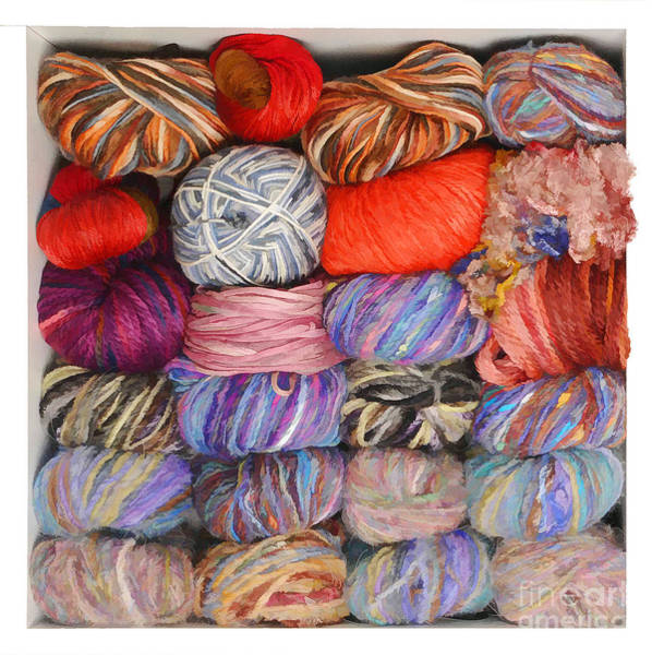 Photograph - Colorful Knitting Yarn - Painterly by Les Palenik