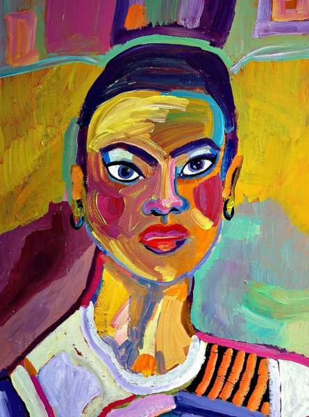 Bright Colours Mixed Media - Colorful Lady by Janet Ashworth