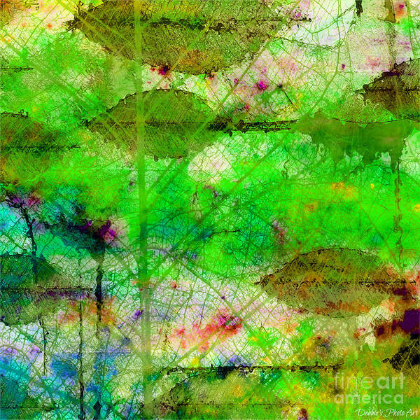 Debbie Digital Art - Colorful Leaves Abstract I by Debbie Portwood