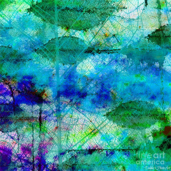 Debbie Digital Art - Colorful Leaves Abstract Iv by Debbie Portwood