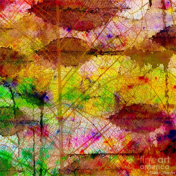 Debbie Digital Art - Colorful Leaves Abstract V by Debbie Portwood