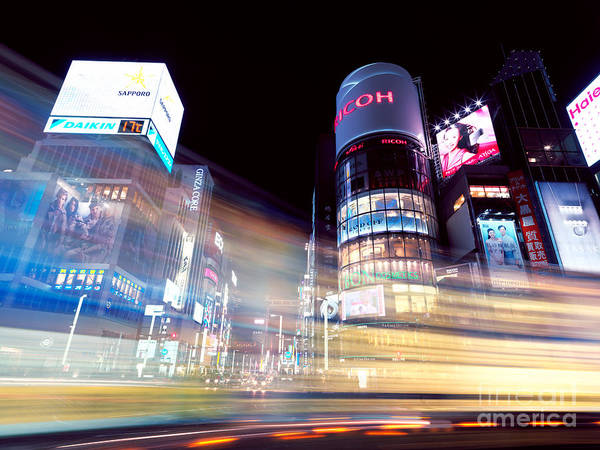 Ginza Wall Art - Photograph - Colorful Light Trails At Night In Ginza Tokyo by Maxim Images Prints