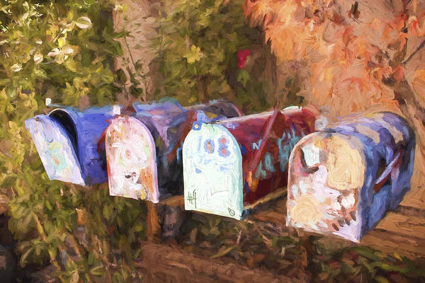 Correspondence Photograph - Colorful Mailboxes Santa Fe Painterly Effect by Carol Leigh