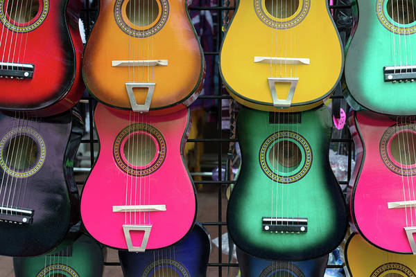 Texas A Photograph - Colorful Mexican Guitars by Carol Wood