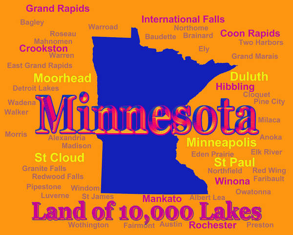 Winona Photograph - Colorful Minnesota State Pride Map Silhouette  by Keith Webber Jr
