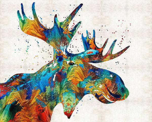 Framed Painting - Colorful Moose Art - Confetti - By Sharon Cummings by Sharon Cummings