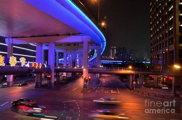 Colorful Night Traffic Scene In Shanghai China Art Print