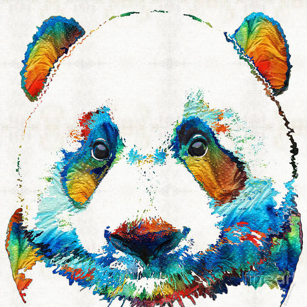 Teddy Bear Painting - Colorful Panda Bear Art By Sharon Cummings by Sharon Cummings