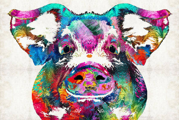 Pig Painting - Colorful Pig Art - Squeal Appeal - By Sharon Cummings by Sharon Cummings