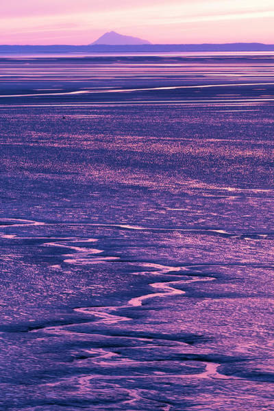 Mount Redoubt Photograph - Colorful Pink And Purple Sunset by Doug Lindstrand