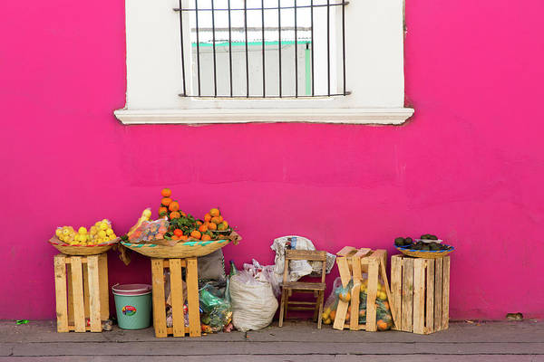 Retail Photograph - Colorful Pink Wall In Mexico by Dennis Walton