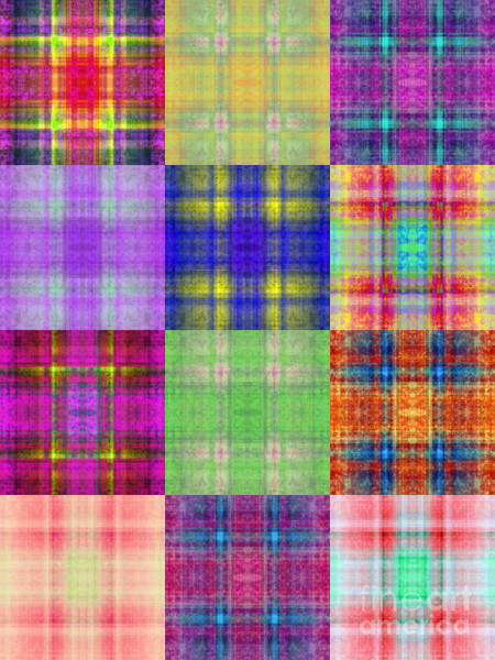 Digital Art - Colorful Plaid Triptych Panel 3 by Andee Design