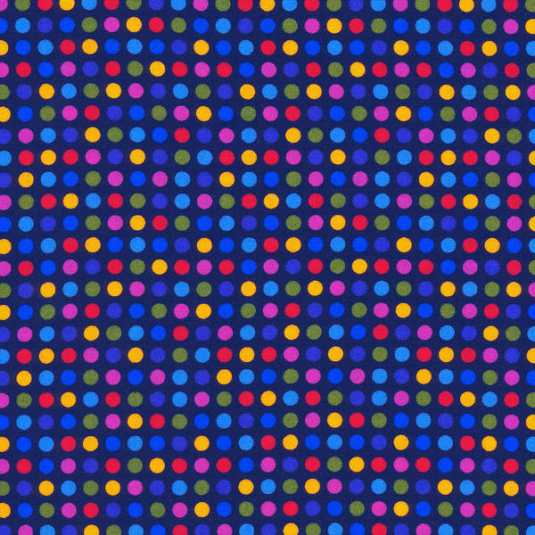 Girly Photograph - Colorful Polka Dots On Dark Blue Fabric Background by Keith Webber Jr