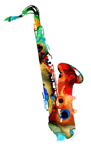Classy Wall Art - Painting - Colorful Saxophone By Sharon Cummings by Sharon Cummings
