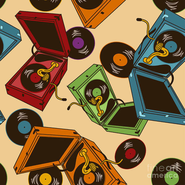 Wall Art - Digital Art - Colorful Seamless Pattern Of Gramophones by Annykos