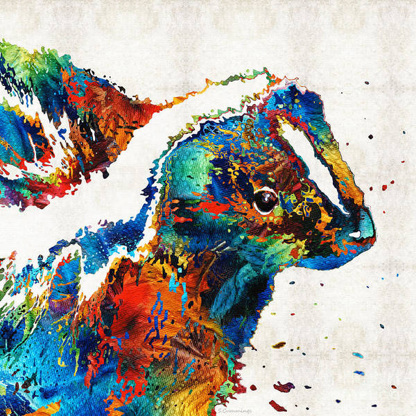 Painting - Colorful Skunk Art - Dee Stinktive - By Sharon Cummings by Sharon Cummings