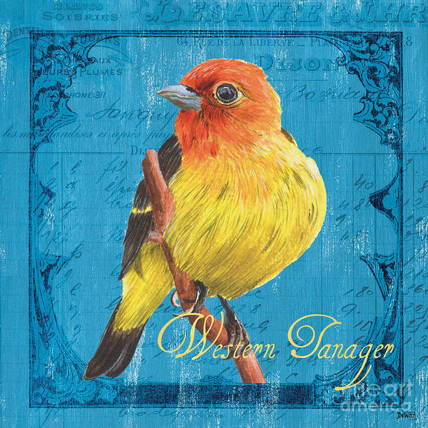 Blue Feather Wall Art - Painting - Colorful Songbirds 4 by Debbie DeWitt